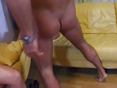 Three hot bitches rammed in a hardcore group-sex