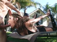Outdoor anal sticking with skinny brunette whore