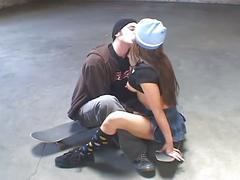 Busty brunette and skateboard friend get nasty