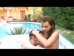 Brunette gets hardcore fucked in the backyard