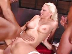 Amazing gang fucking with big tits blonde whore in sexfest
