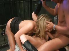 Two babes in jail get a hard cock to share