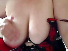 Fat bbw gf wearing a corset and showing her big tits on cam