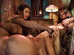 Extreme hardcore sex-three horny babe toying to each other pussy