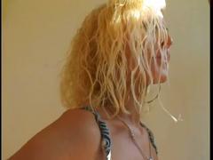 Skinny blonde sucks and fucks inspector