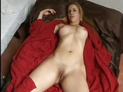 Amateur sex videos-the toying her own pussy and get cum on tits.