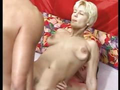 Horny blonde gets two cocks and a nasty dp