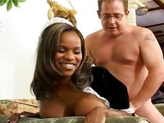 Horny white daddy in suit drilling hot black maid tasty pussy