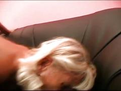 Blonde granny lesbian gets younger brunette's pussy