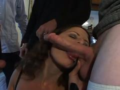 Brunette bitch drilled and double penetrated by four horny dudes