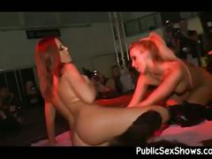 Naughty blonde strippers playing nasty in public