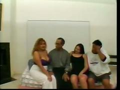 Two chubby latinas get freaky all over the room
