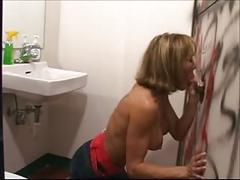 Husband watches milf suck glory hole cock