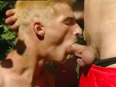 Anal stretching threesome with hot spunk loving twinks outdoors
