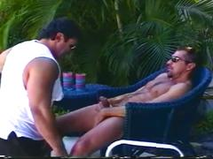 Muscled daddy bears enjoying sleazy outdoor cock eating encounter