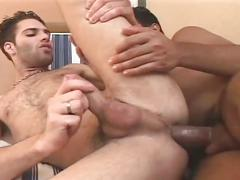 Deep anal whacking session as horny hairy latino stud opens wide
