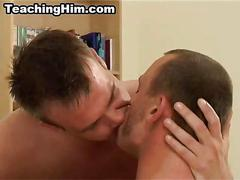 Mature hunk taking a hard cock deep in his asshole
