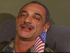 Army stud sucks and fucks mature captain's cock