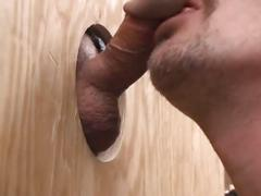 Dong eating horny pig daddy pleasing big cock in filthy glory hole