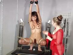 Hot brunette bounded and fucked by sybian