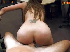 Crazy slut sits on pawnkeepers cock after selling her stuff