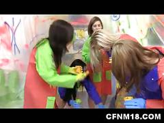 Cfnm session with girls painting man body