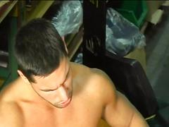 Perverted muscled factory studs attacking their ass with cocks