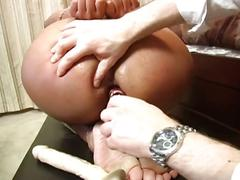 Hot blonde gets bounded and abused on her ass and pussy