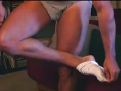 Big muscular guy takes his clothing off and masturbates on cam