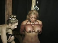 Poor blonde with big boobs is tortured and humiliated