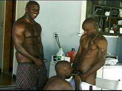 Yummy monster black cocks collide in nasty threeway pounding