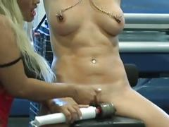 Blonde babe dominated by a busty blonde mistress