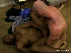 Interracial hardcore anal fucking with white daddy and black ass