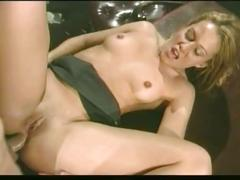 Sexy secretary fucks by her boss on top of the office table