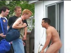Four handsome guys make interesting outdoor train anal fucking