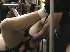 Kinky gay fun in the sex shop as fatty gets tied up and ass fucked