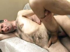 Fervent anal coition on the couch with hairy young gay twinks