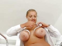 big tits, fetish, masturbation, solo, toys, uniform, busty, masturbating, medical fetish, nurse, speculum, striptease