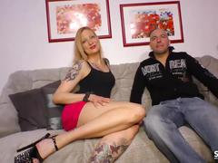 Sextape germany - blonde german has small tits cum covered