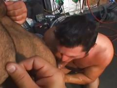 Grease daddies enjoying hardcore anal stretching in the workshop