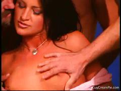 Horny chick fucks by five hot men