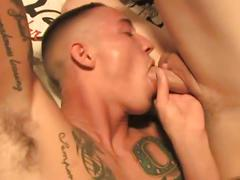 Tattooed hunks have hot anal pounding