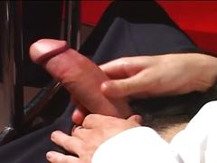 Big dick stud jerking off at work