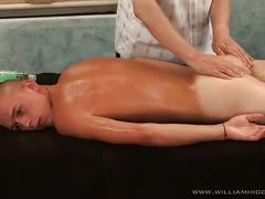 Luscious young twink gets massaged and dick played hard