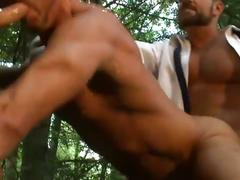 Jock park with horny muscled daddy bears enjoying threesome fuck