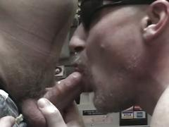 Tied up masked stud cock sucked by stranger