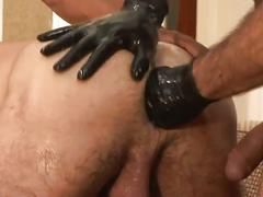 Two white bears and sizzling hot black stud in threeway fisting