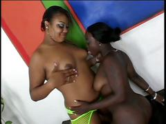 Two hot black lesbians toy, lick each others pussies