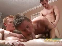 Naughty hunks have hot threesome