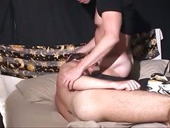 Beefy dude gives hot bareback anal drilling with cumshot